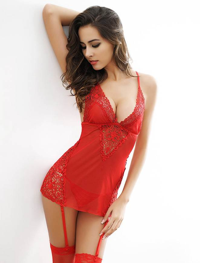 5057893e9aa Romantic in Red Lace and Mesh Garter Chemise
