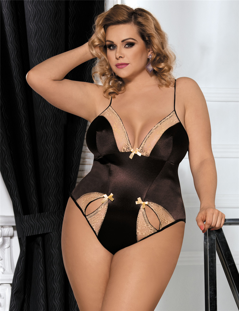 Sexy Hot Plus Size Brown Teddy With Two Holes Front From China