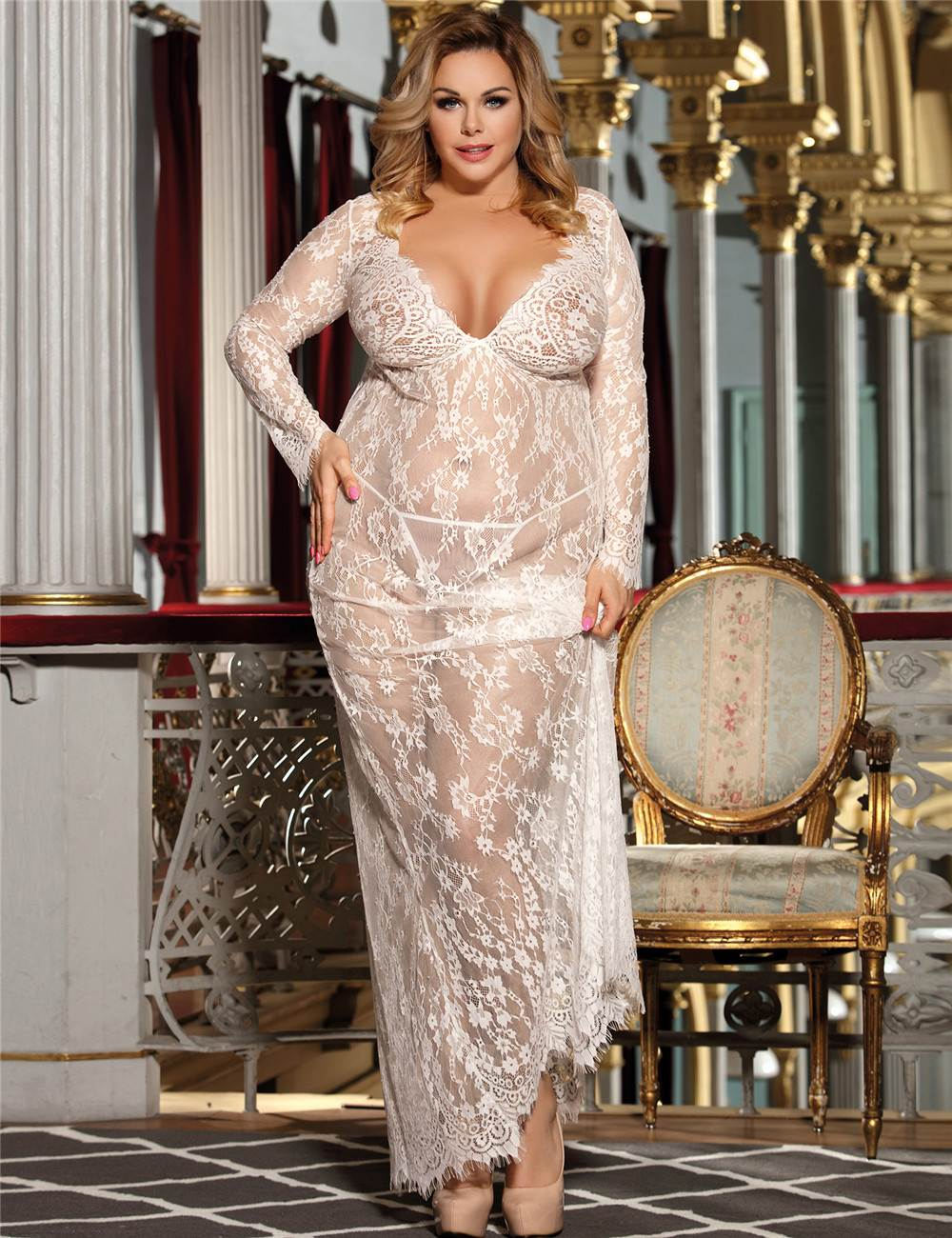 Plus Size White Sheer Lace Kaftan Robe With Thong  Ohyeah-8544