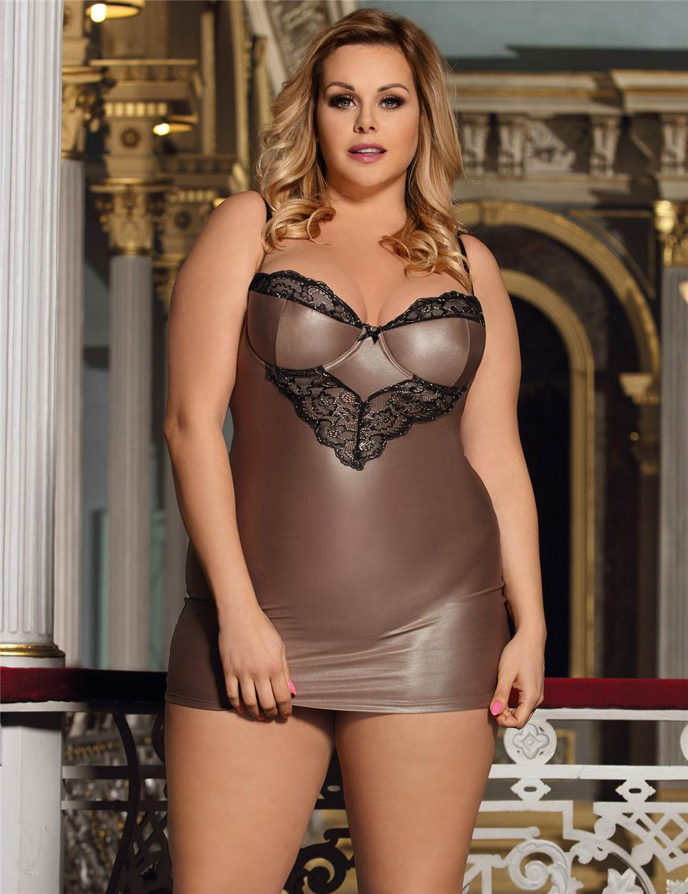 In stock paypal accept pink sexy mature plus size lingerie